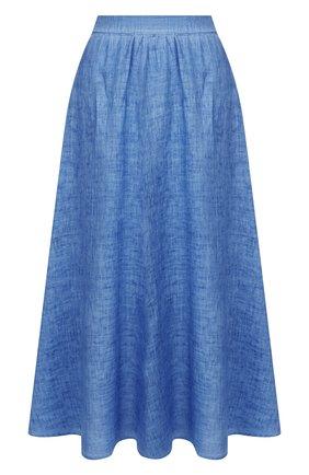 Женская льняная юбка 120% LINO синего цвета, арт. R0W5099/B317/S00 | Фото 1