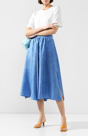 Женская льняная юбка 120% LINO синего цвета, арт. R0W5099/B317/S00 | Фото 2