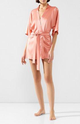 Женский шелковый халат FLEUR OF ENGLAND розового цвета, арт. FT1638 | Фото 2