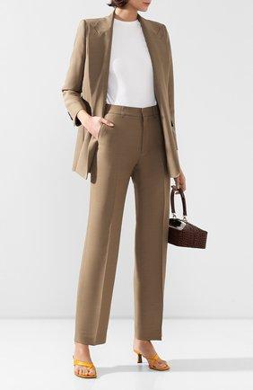 Женские брюки из смеси вискозы и шерсти AMI бежевого цвета, арт. E20FT405.232 | Фото 2