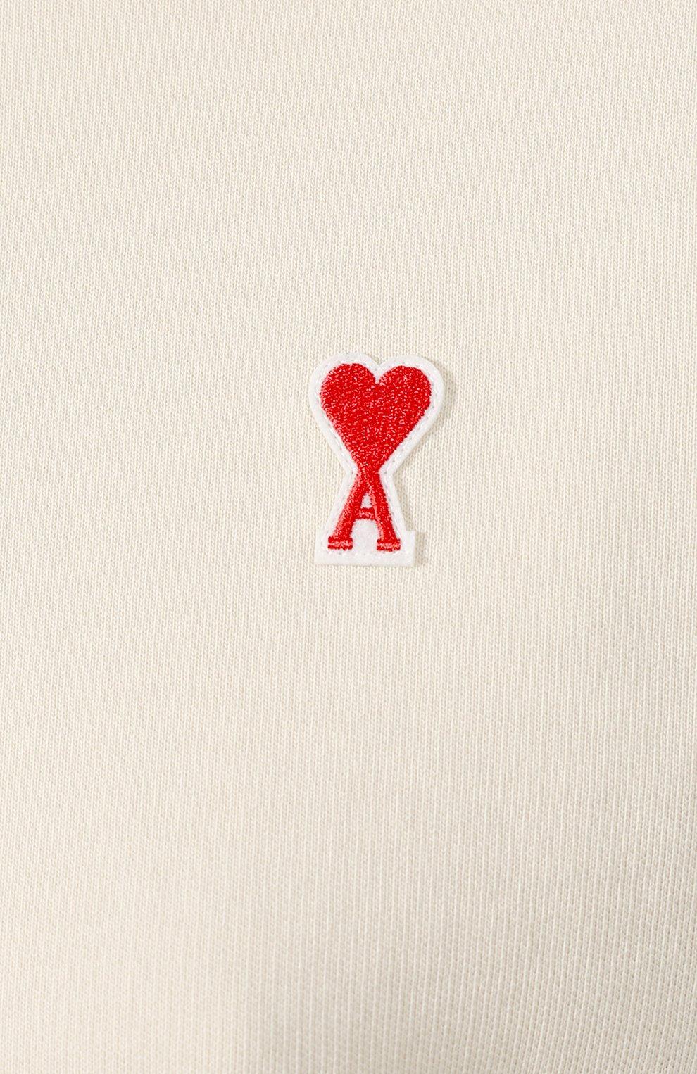 Женский хлопковый свитшот AMI кремвого цвета, арт. E20FJ007.730 | Фото 5