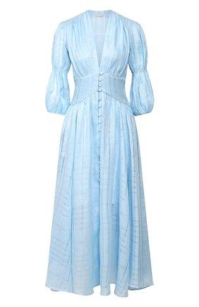 Женское льняное платье CULT GAIA голубого цвета, арт. 50022I01 SKY   Фото 1 (Материал внешний: Лен; Длина Ж (юбки, платья, шорты): Миди; Рукава: 3/4; Случай: Повседневный; Статус проверки: Проверена категория)