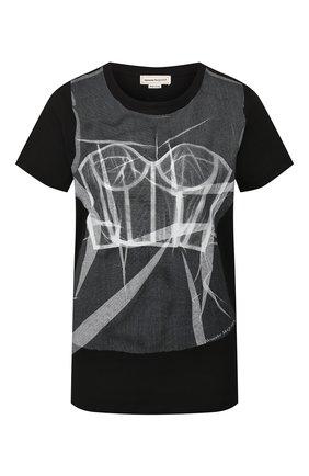 Женская хлопковая футболка ALEXANDER MCQUEEN черного цвета, арт. 610930/QZAA2 | Фото 1