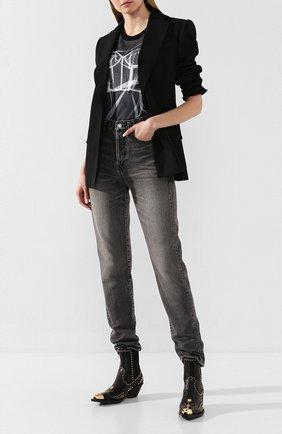 Женская хлопковая футболка ALEXANDER MCQUEEN черного цвета, арт. 610930/QZAA2 | Фото 2