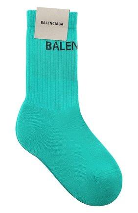 Женские хлопковые носки BALENCIAGA бирюзового цвета, арт. 540615/372B4 | Фото 1