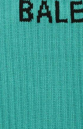 Женские хлопковые носки BALENCIAGA бирюзового цвета, арт. 540615/372B4 | Фото 2