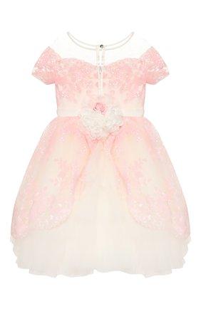 Детское платье MONNALISA розового цвета, арт. 775902   Фото 2