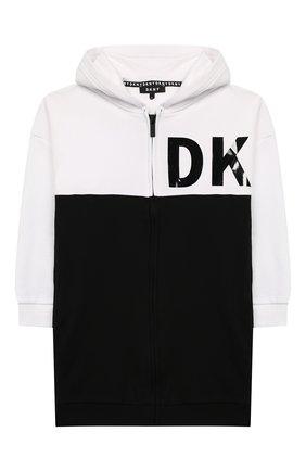 Детский хлопковая толстовка DKNY черно-белого цвета, арт. D35Q65/09B SS20 | Фото 1