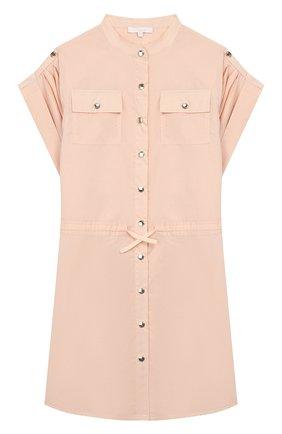 Детское шелковое платье CHLOÉ светло-розового цвета, арт. C12769 | Фото 1