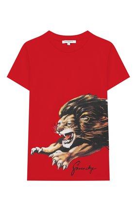Детская хлопковая футболка GIVENCHY красного цвета, арт. H25180 | Фото 1