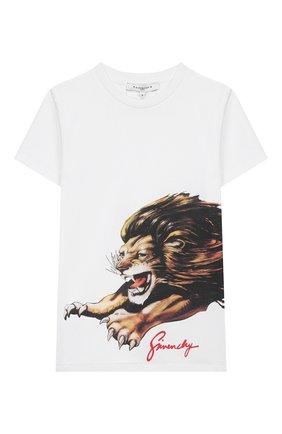 Детская хлопковая футболка GIVENCHY белого цвета, арт. H25180 | Фото 1
