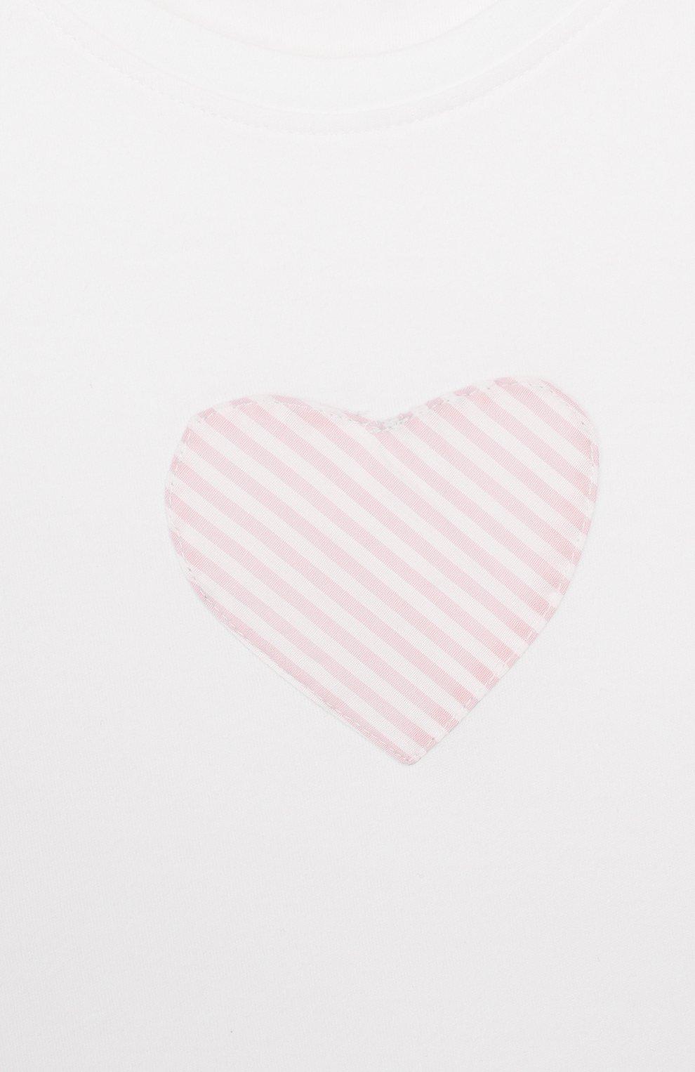 Детский хлопковая футболка ALETTA белого цвета, арт. RF00313/3A-6A | Фото 3 (Рукава: Короткие; Материал внешний: Хлопок)