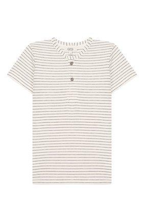 Детский хлопковая футболка ALETTA бежевого цвета, арт. RZ00241MC/3A-6A | Фото 1