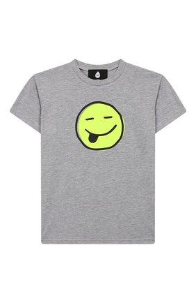 Детская хлопковая футболка NATASHA ZINKO серого цвета, арт. SS20DU0518-05/10-14   Фото 1