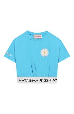 Детский хлопковый топ NATASHA ZINKO голубого цвета, арт. SS20MNZ203-30/10-14 | Фото 1 (Материал внешний: Хлопок; Рукава: Короткие)