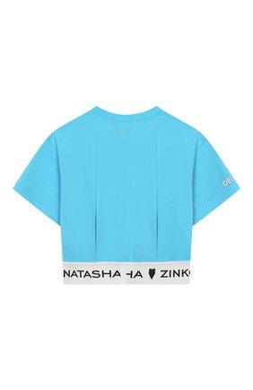 Детский хлопковый топ NATASHA ZINKO голубого цвета, арт. SS20MNZ203-30/10-14 | Фото 2 (Материал внешний: Хлопок; Рукава: Короткие)