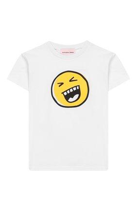 Детская хлопковая футболка NATASHA ZINKO белого цвета, арт. SS20MNZ507-06/10-14 | Фото 1