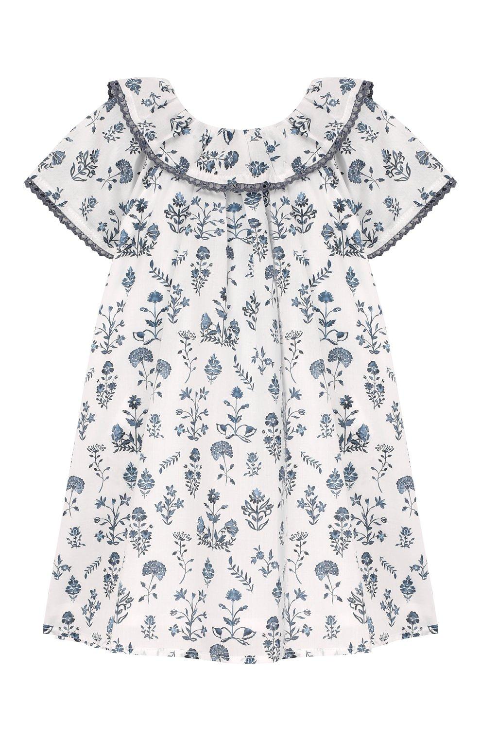 Женский хлопковое платье TARTINE ET CHOCOLAT белого цвета, арт. TQ30041/1M-1A   Фото 1 (Рукава: Короткие; Материал внешний: Хлопок; Материал подклада: Хлопок; Ростовка одежда: 9 мес   74 см)