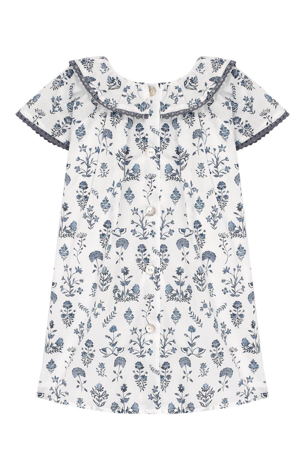 Женский хлопковое платье TARTINE ET CHOCOLAT белого цвета, арт. TQ30041/1M-1A   Фото 2 (Рукава: Короткие; Материал внешний: Хлопок; Материал подклада: Хлопок; Ростовка одежда: 9 мес   74 см)