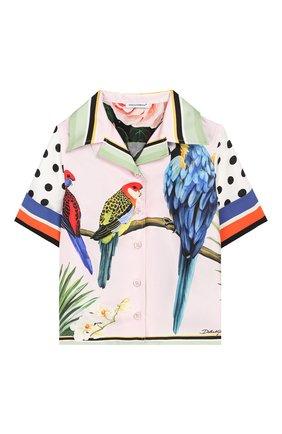 Детское шелковая блузка DOLCE & GABBANA белого цвета, арт. L54S88/G7WRI/2-6 | Фото 1