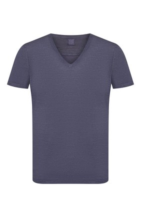 Мужская льняная футболка 120% LINO темно-синего цвета, арт. R0M7915/E908/S00 | Фото 1