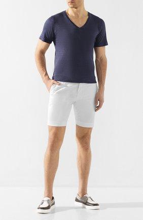 Мужская льняная футболка 120% LINO темно-синего цвета, арт. R0M7915/E908/S00 | Фото 2