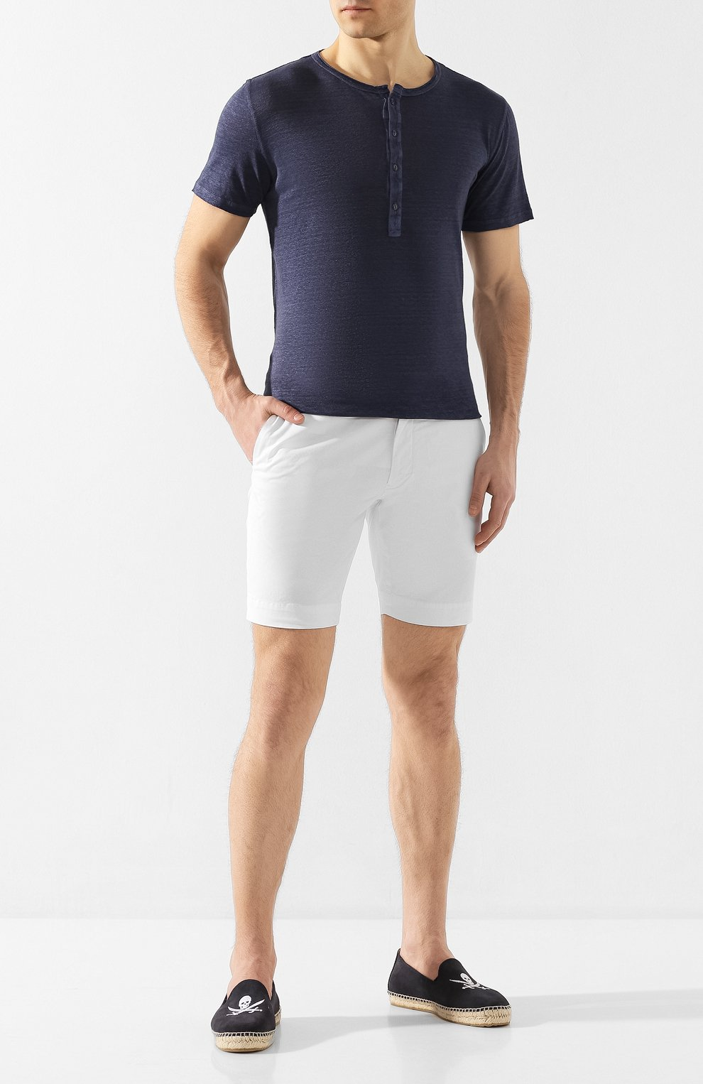 Мужская льняная футболка 120% LINO темно-синего цвета, арт. R0M7672/E908/S00 | Фото 2