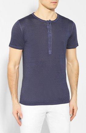 Мужская льняная футболка 120% LINO темно-синего цвета, арт. R0M7672/E908/S00 | Фото 3