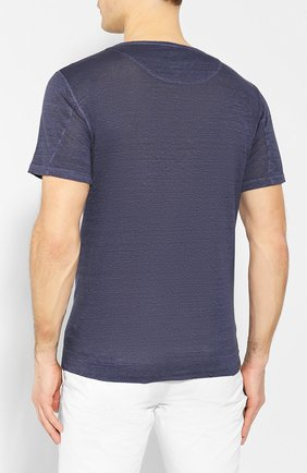 Мужская льняная футболка 120% LINO темно-синего цвета, арт. R0M7672/E908/S00 | Фото 4