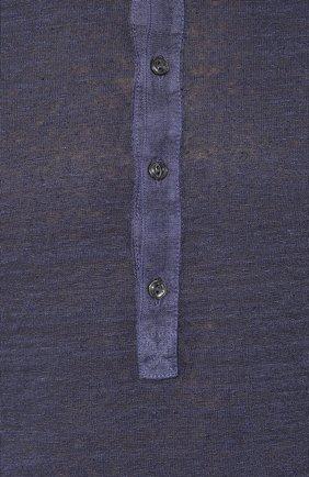 Мужская льняная футболка 120% LINO темно-синего цвета, арт. R0M7672/E908/S00 | Фото 5