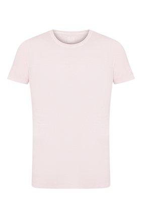 Мужская льняная футболка 120% LINO светло-розового цвета, арт. R0M7288/E908/S00 | Фото 1