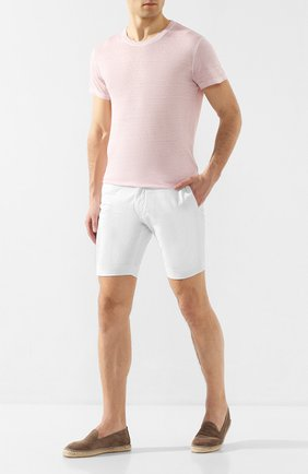 Мужская льняная футболка 120% LINO светло-розового цвета, арт. R0M7288/E908/S00 | Фото 2
