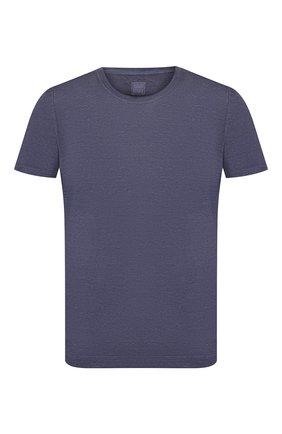 Мужская льняная футболка 120% LINO темно-синего цвета, арт. R0M7288/E908/S00 | Фото 1