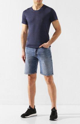 Мужская льняная футболка 120% LINO темно-синего цвета, арт. R0M7288/E908/S00 | Фото 2