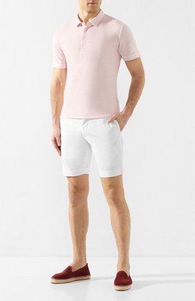 Мужское льняное поло 120% LINO светло-розового цвета, арт. R0M7282/E908/S00 | Фото 2