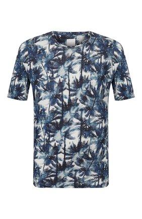 Мужская льняная футболка 120% LINO разноцветного цвета, арт. R0M7186/F779/300 | Фото 1