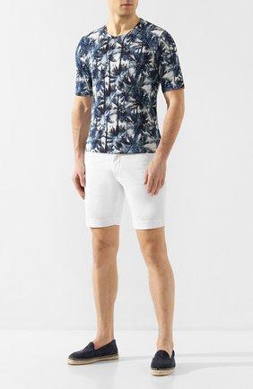 Мужская льняная футболка 120% LINO разноцветного цвета, арт. R0M7186/F779/300 | Фото 2