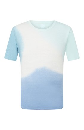 Мужская льняная футболка 120% LINO голубого цвета, арт. R0M7186/E908/M00 | Фото 1