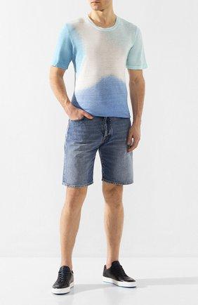 Мужская льняная футболка 120% LINO голубого цвета, арт. R0M7186/E908/M00 | Фото 2