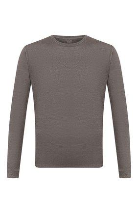 Мужской льняной джемпер 120% LINO серого цвета, арт. R0M70F4/E908/S00 | Фото 1