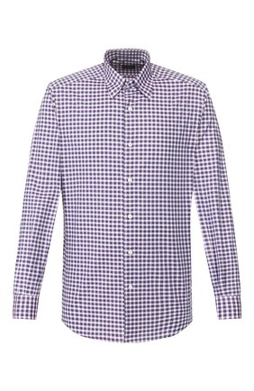 Мужская хлопковая рубашка ERMENEGILDO ZEGNA фиолетового цвета, арт. UUX11/SAL2 | Фото 1