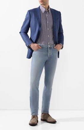 Мужская хлопковая рубашка ERMENEGILDO ZEGNA фиолетового цвета, арт. UUX11/SAL2 | Фото 2