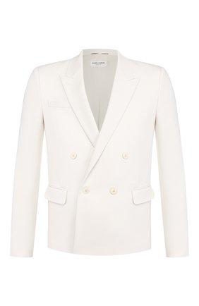 Мужской шерстяной пиджак SAINT LAURENT белого цвета, арт. 598083/Y1A09 | Фото 1