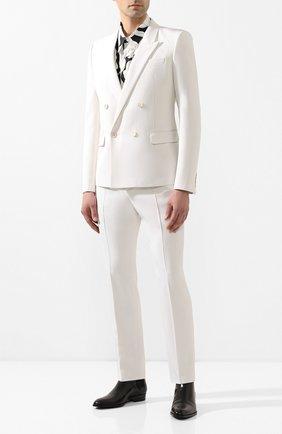 Мужской шерстяной пиджак SAINT LAURENT белого цвета, арт. 598083/Y1A09 | Фото 2