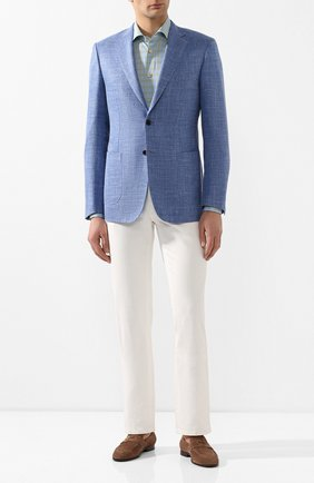Мужская хлопковая сорочка KITON голубого цвета, арт. UCIH0730443   Фото 2