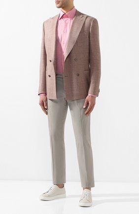 Мужской брюки из смеси хлопка и шелка ANDREA CAMPAGNA светло-серого цвета, арт. SC/1 FIBB/BN0002BX   Фото 2