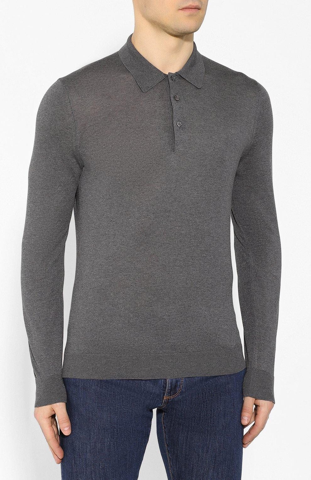 Мужское шелковое поло ANDREA CAMPAGNA темно-серого цвета, арт. 43111/23503 | Фото 3