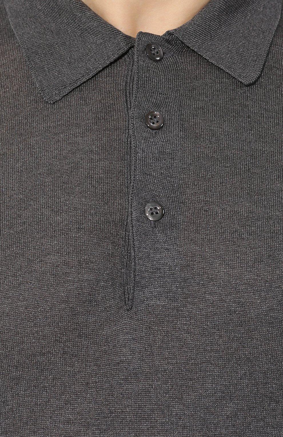 Мужское шелковое поло ANDREA CAMPAGNA темно-серого цвета, арт. 43111/23503 | Фото 5