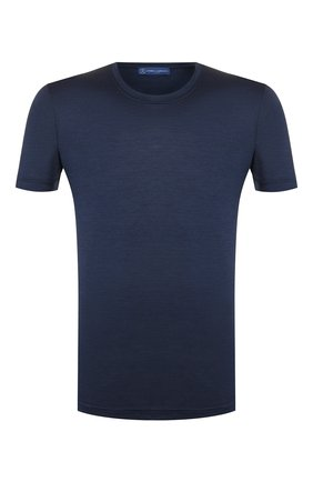 Мужская шелковая футболка ANDREA CAMPAGNA темно-синего цвета, арт. 60133/78301 | Фото 1 (Рукава: Короткие; Мужское Кросс-КТ: Футболка-одежда; Принт: Без принта; Материал внешний: Шелк; Длина (для топов): Стандартные; Стили: Кэжуэл)