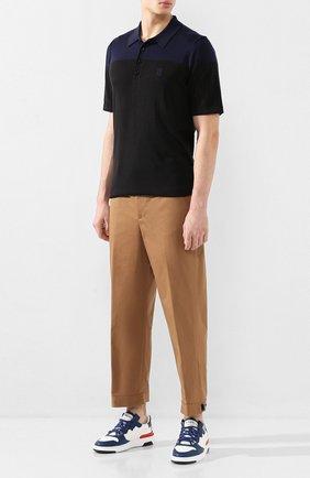 Мужское поло из смеси шелка и кашемира BURBERRY черного цвета, арт. 8025958 | Фото 2